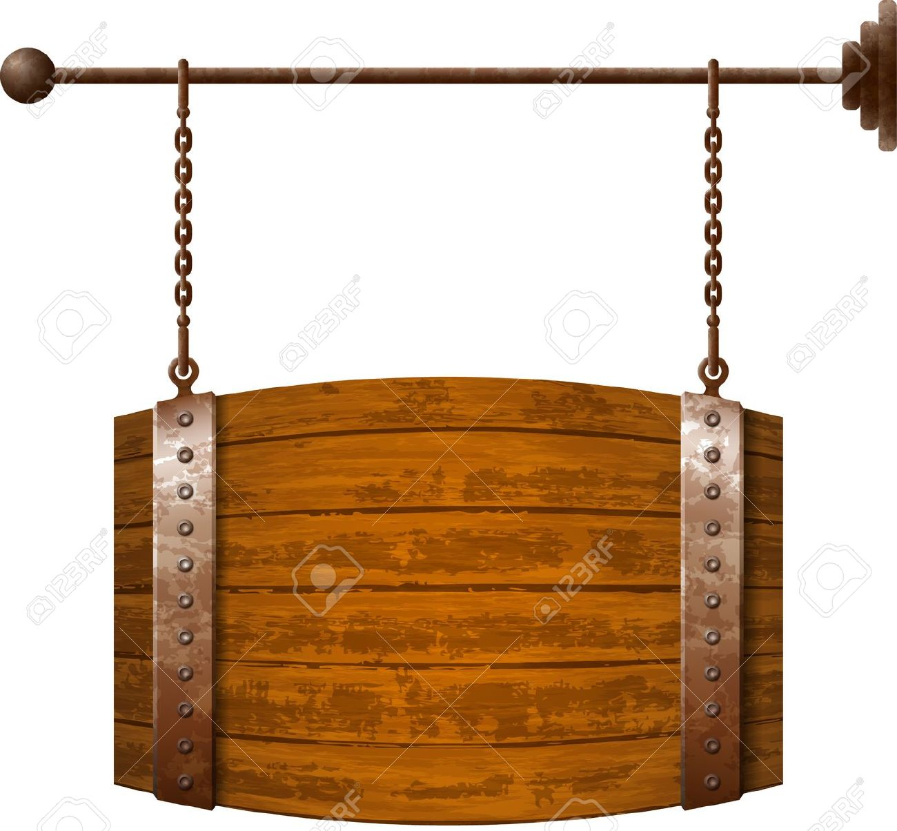 Barrel Shaped Wooden Signboard On Rusty Chains Royalty Free.