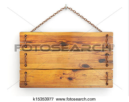 Stock Illustration of Old wood signboard on chain. k15353977.