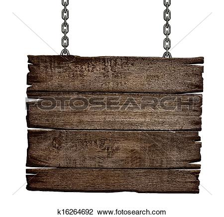 Stock Photo of old wood sign board on chain k16264692.