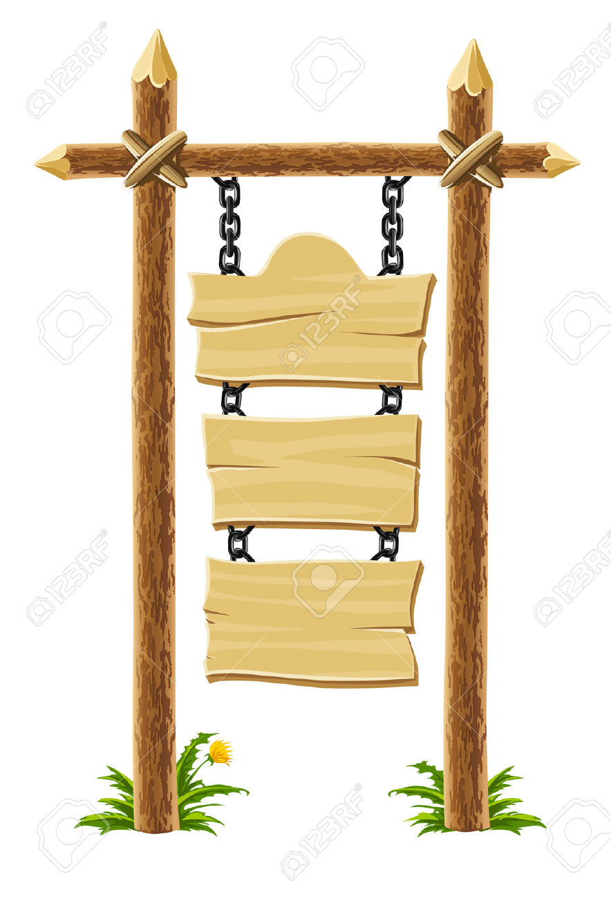 Old Wooden Signboard On Post With Chain Royalty Free Cliparts.