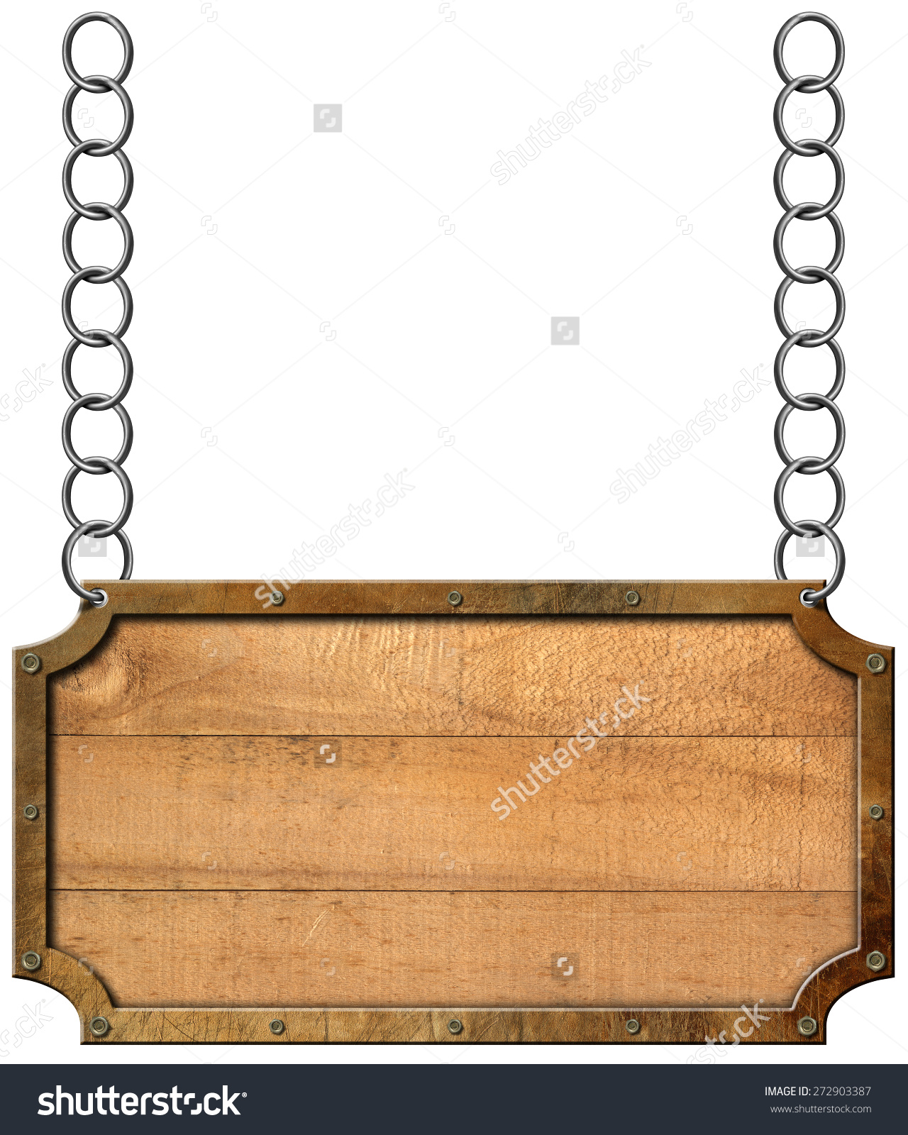 Wood Metal Sign Chain Empty Rectangular Stock Illustration.
