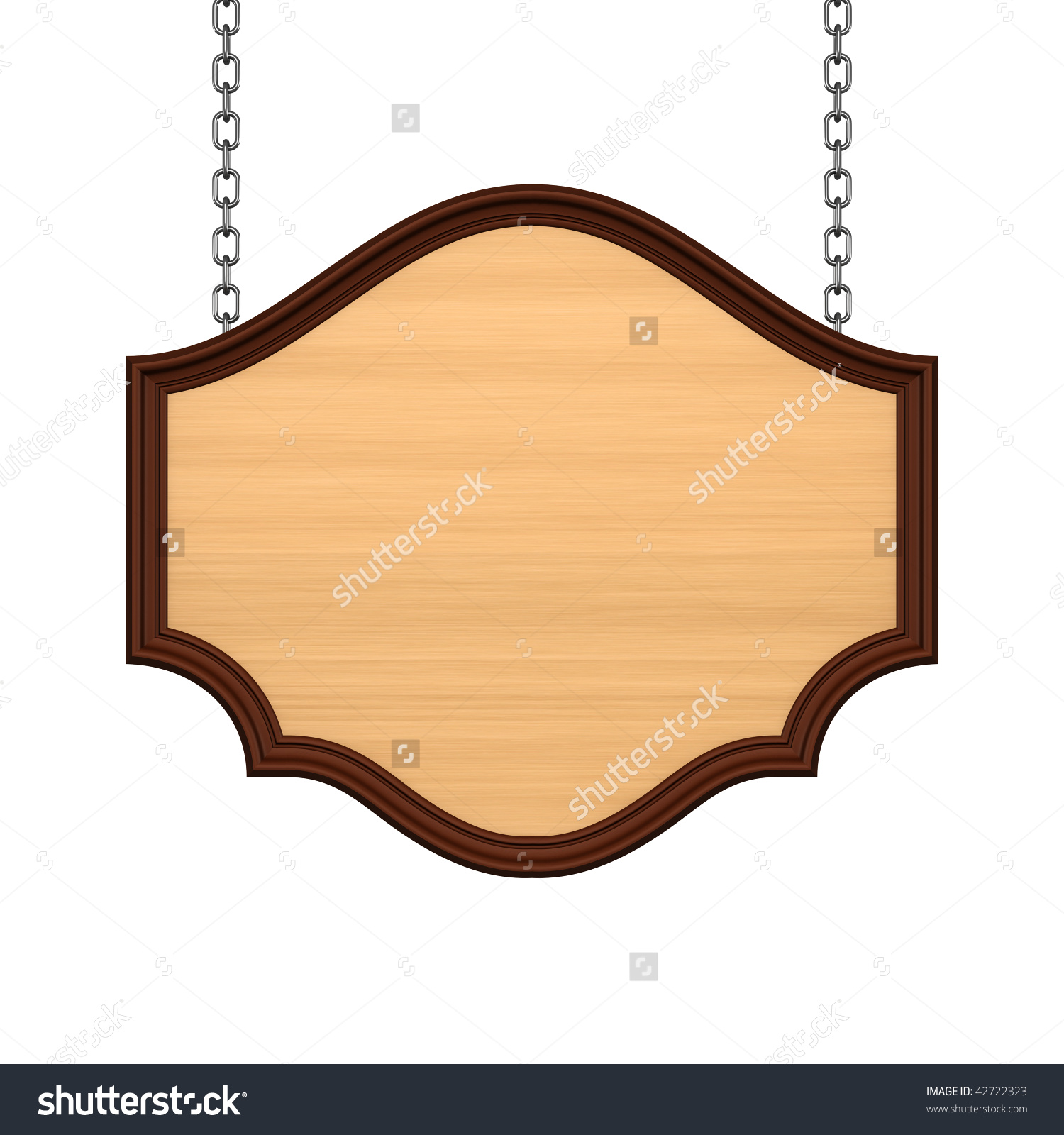 Wooden Signboard Chain Stock Illustration 42722323.