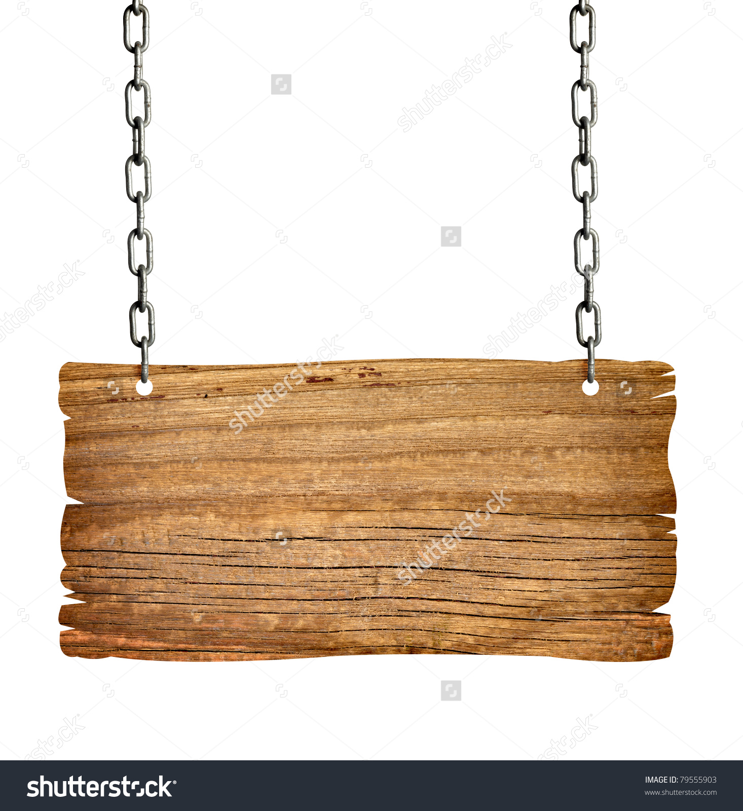 Close Wooden Sign Chain On White Stock Photo 79555903.