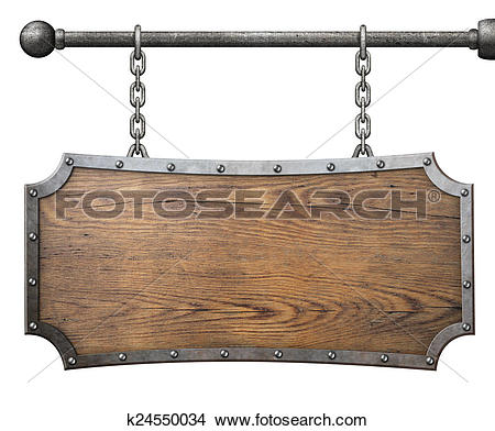 Stock Photo of wood sign with metal frame hanging on chain.