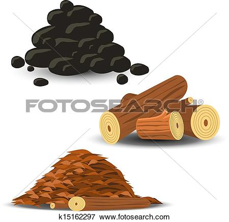 Clip Art of Firewood, Wood Chips and Coal k15162297.