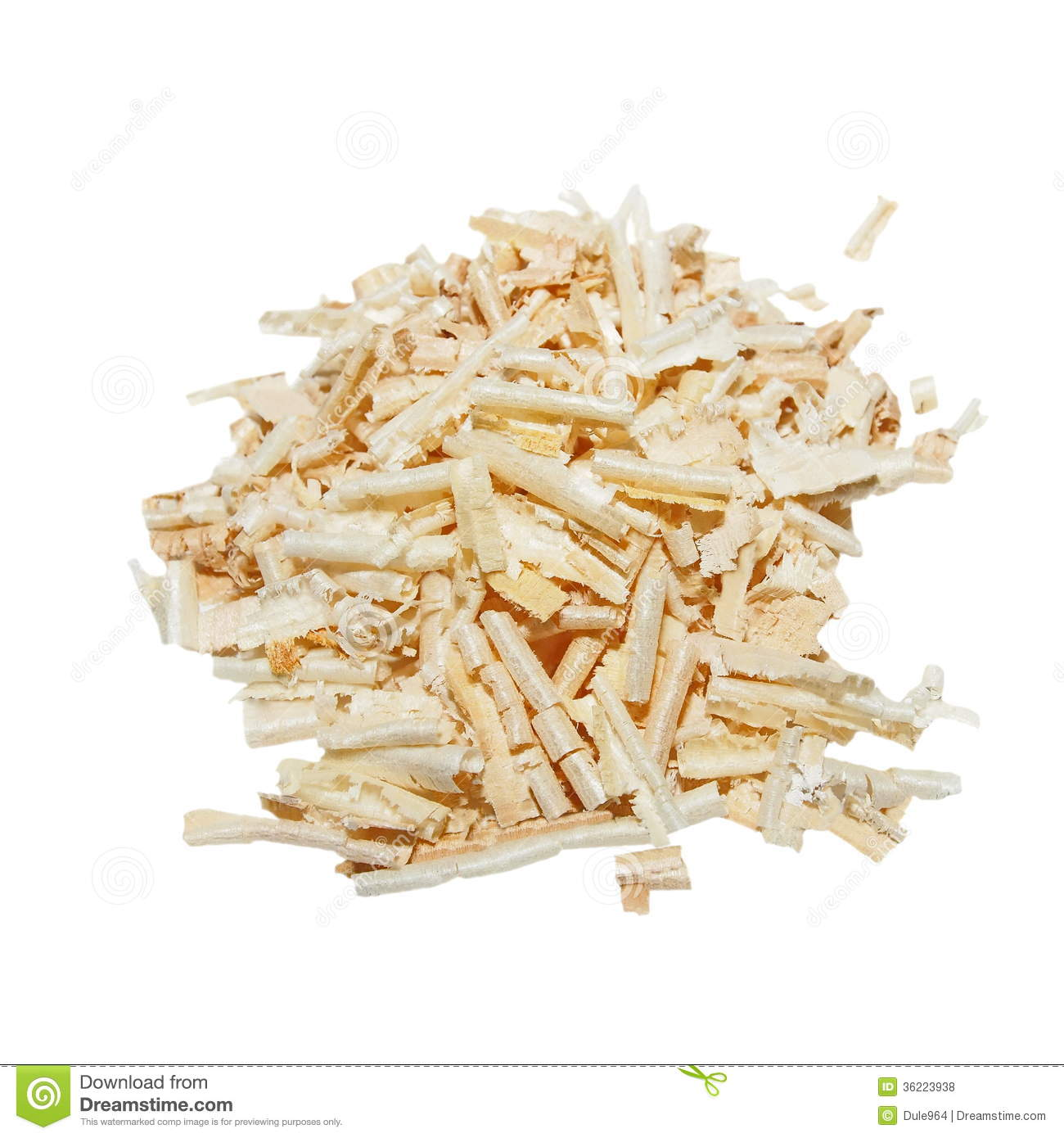 Pile Wood Shavings Isolated Royalty Free Stock Photos.