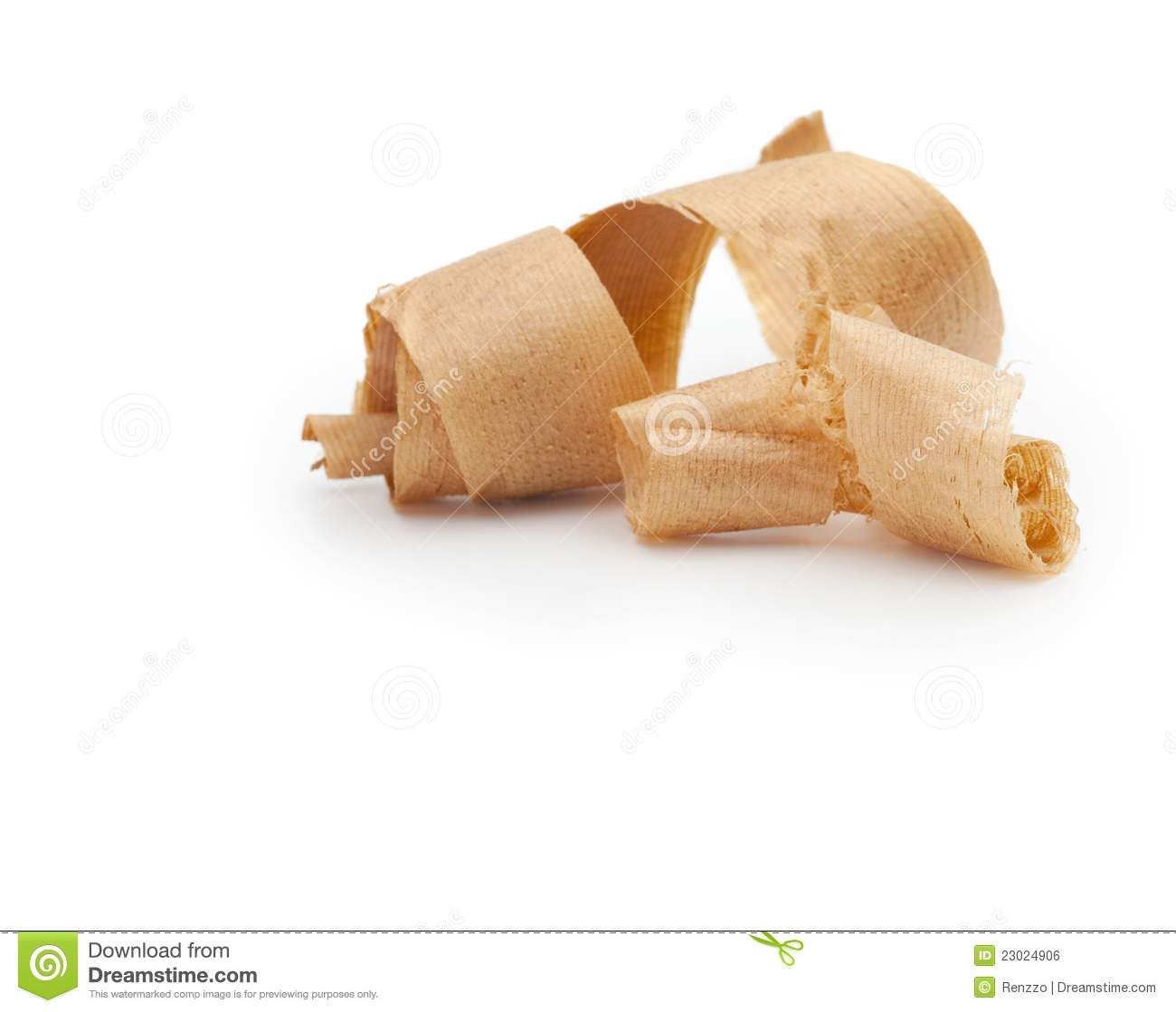 Wooden Shavings Isolated On White. Royalty Free Stock Image.
