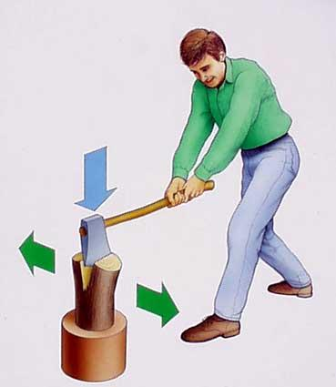 Man chopping wood clipart.