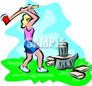 Woman Chopping Wood Clipart Picture.