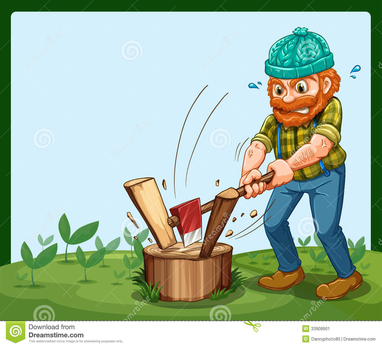 A Lumberjack Chopping The Wood Stock Image.