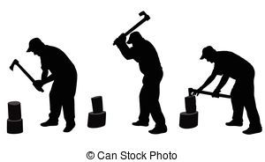 EPS Vector of Man chopping wood.