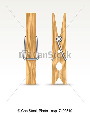 Vector Clip Art of Wooden cloth clips.