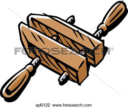 Clip Art of A wood clamp apl0122.