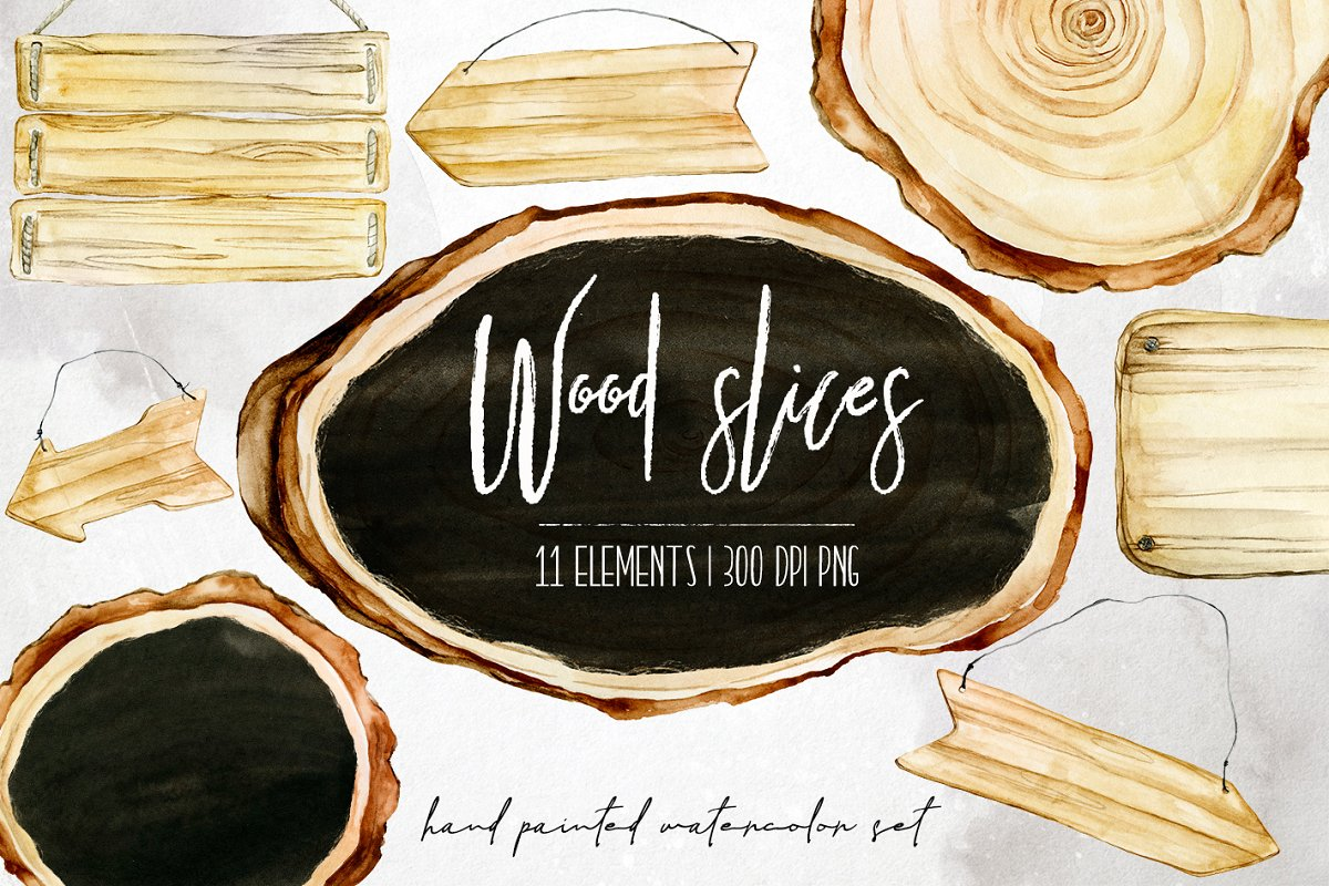 11 Watercolor wood slices clipart.
