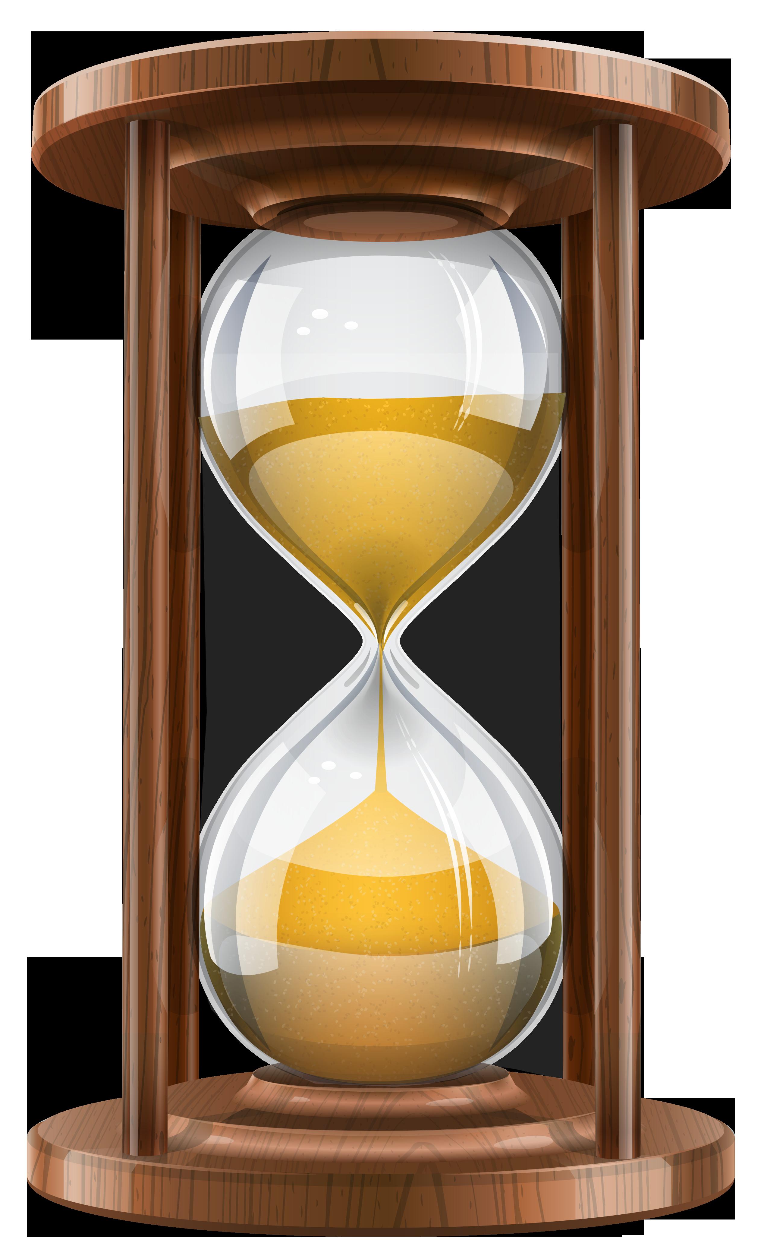 Wooden Sand Clock PNG Clip Art.