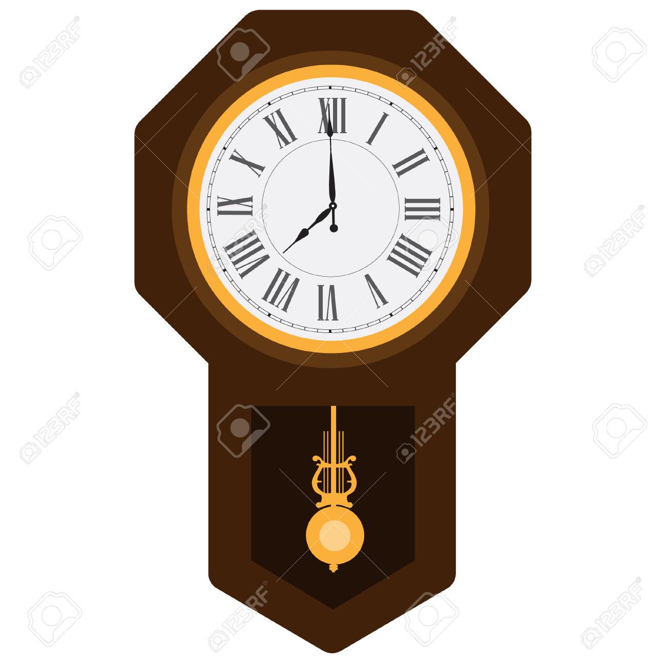 Brown Wooden Pendulum Clock Vector Illustration. Grandfather.