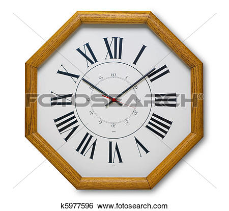 Stock Images of Octagonal wood clock, isolated k5977596.