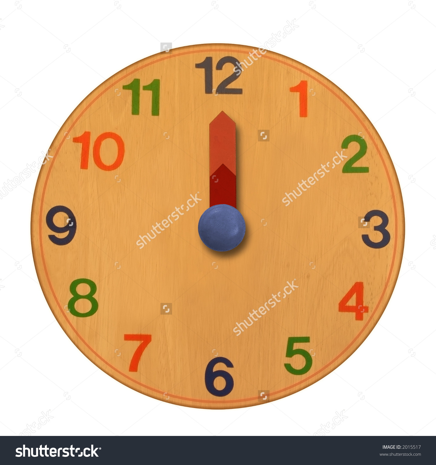 Wooden Clock Midnight Twelve Oclock Stock Photo 2015517.