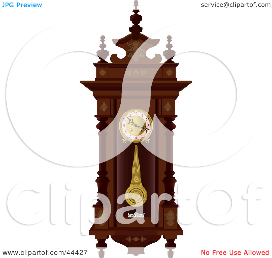 Clipart Illustration of a Pendulum Swinging On An Antique Wooden.
