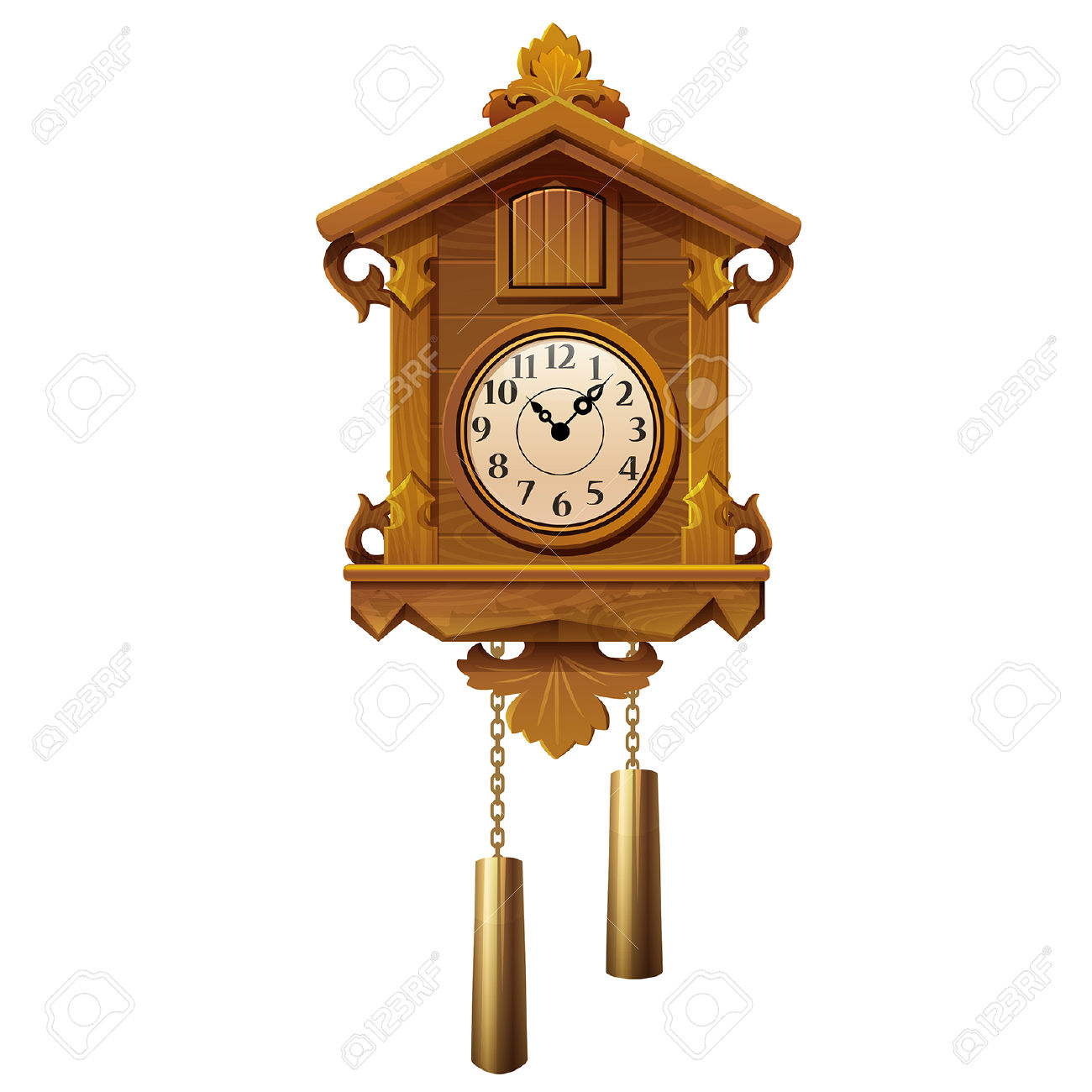 Vector Illustration Of Vintage Wooden Cuckoo Clock On A White.