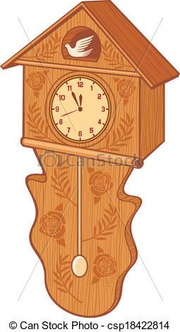 Vector Clip Art of wooden cuckoo clock (bird wall clock.
