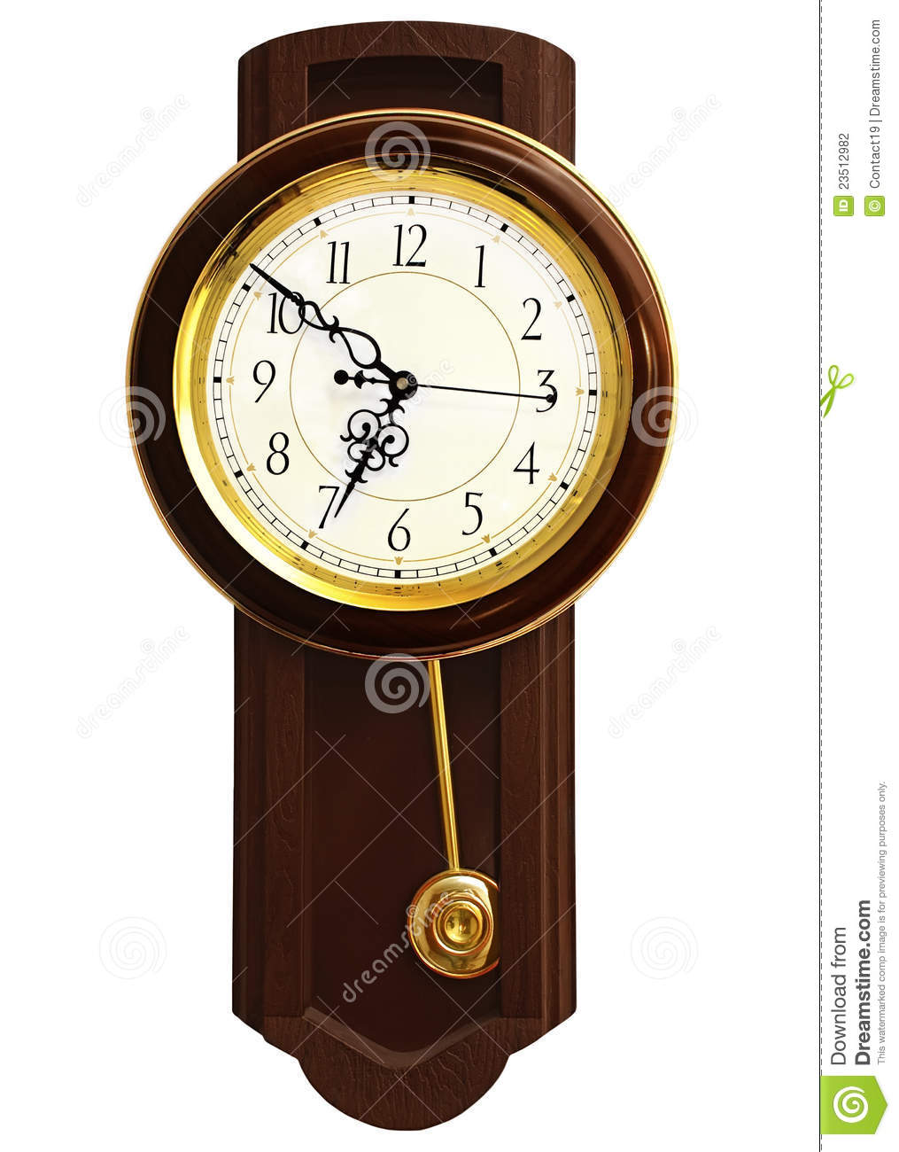 Wooden Wall Clock Stock Photography.
