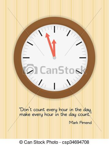 Vector Clipart of Wood clock on wall with wallpaper and quote.