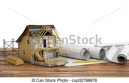 Stock Illustrations of Concept of construction. 3d render of house.