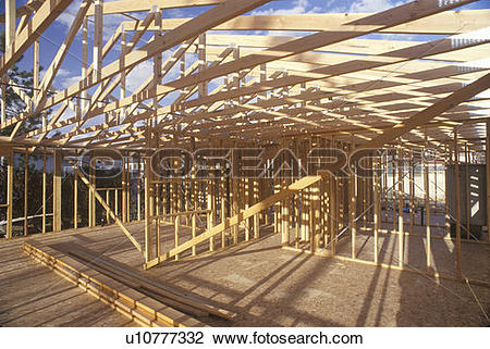 Stock Photo of Wood frame of house under construction, Lone Pine.