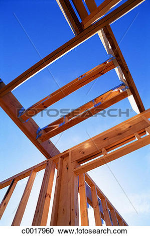 Stock Photography of building, construction, wood, sky, house.