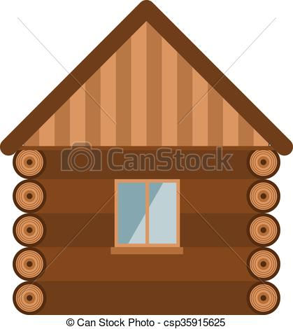Vector Illustration of Wooden house architecture design estate old.