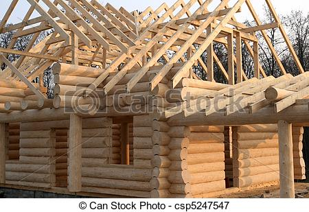 Picture of Wooden home construction.