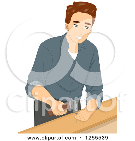 Clipart Smiling Blond Woman Using A Power Drill On Wood.