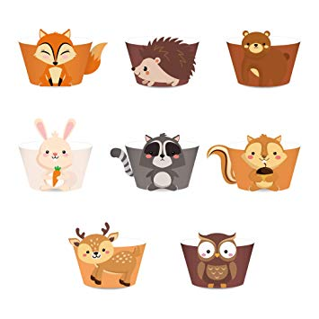 LJCL 24Ct Woodland Creature Cupcake Wrappers,Wild One ,Woodland Baby Shower  Decorations,Forest Animal Creature Cup Cake Wrap Liner ,Woodland Creature.