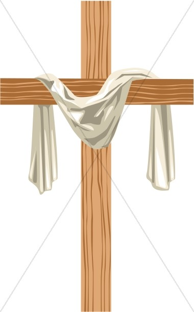 Wooden 3D Cross with Shadow.