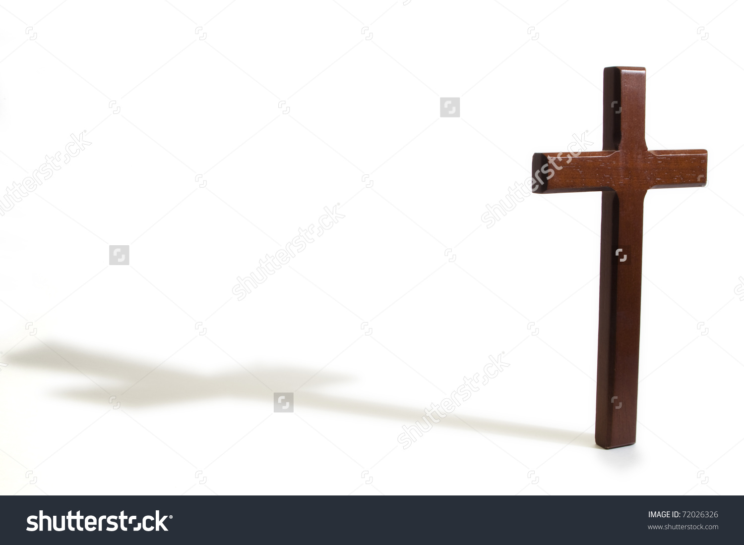 Wooden Cross Casting Shadow On White Stock Photo 72026326.