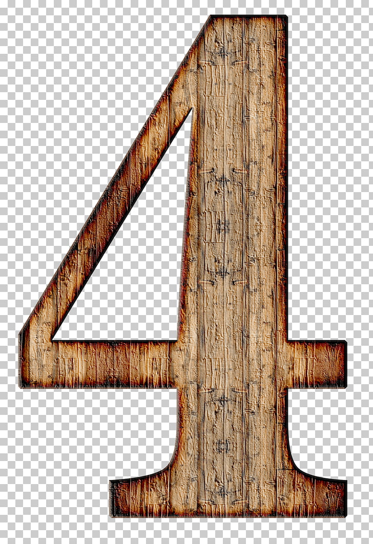 Wooden Number 4, brown 4 wood cutout illustration PNG.