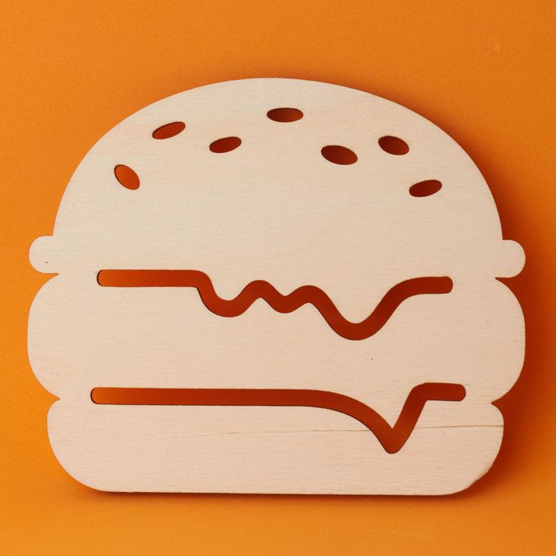 Unfinished Wood Burger Cutout.