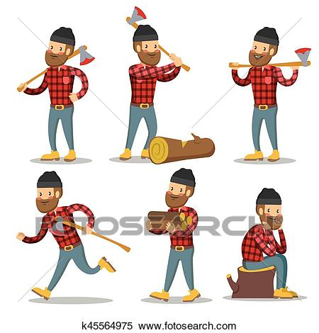 Lumberjack Cartoon Character Set. Woodcutter with Axe. Vector illustration  Clipart.