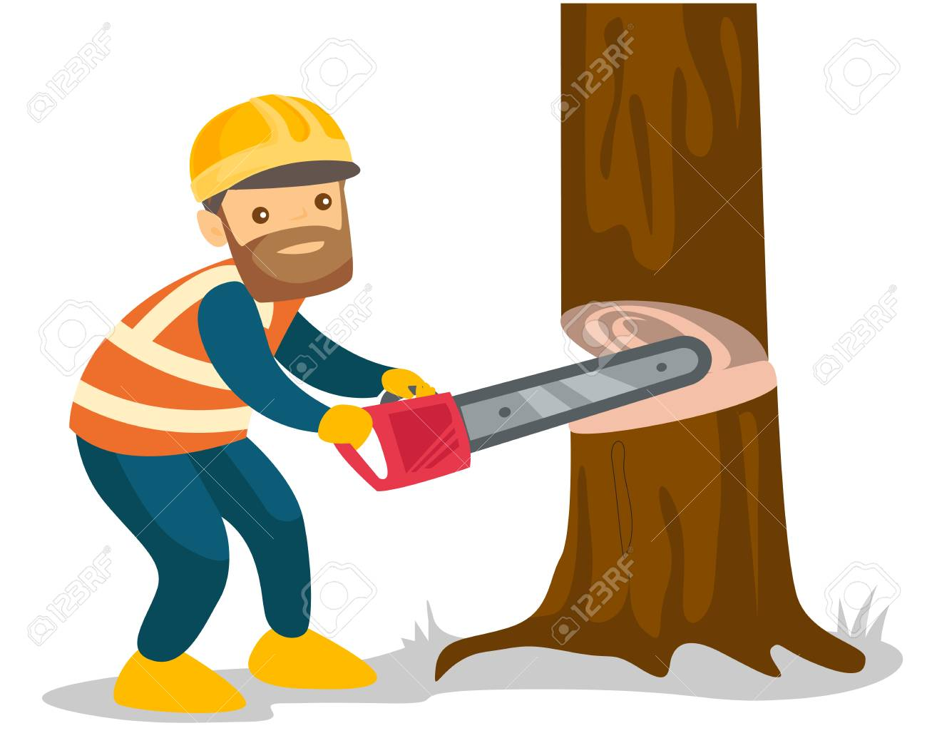 Young caucasian white woodcutter in workwear and hard hat cutting...