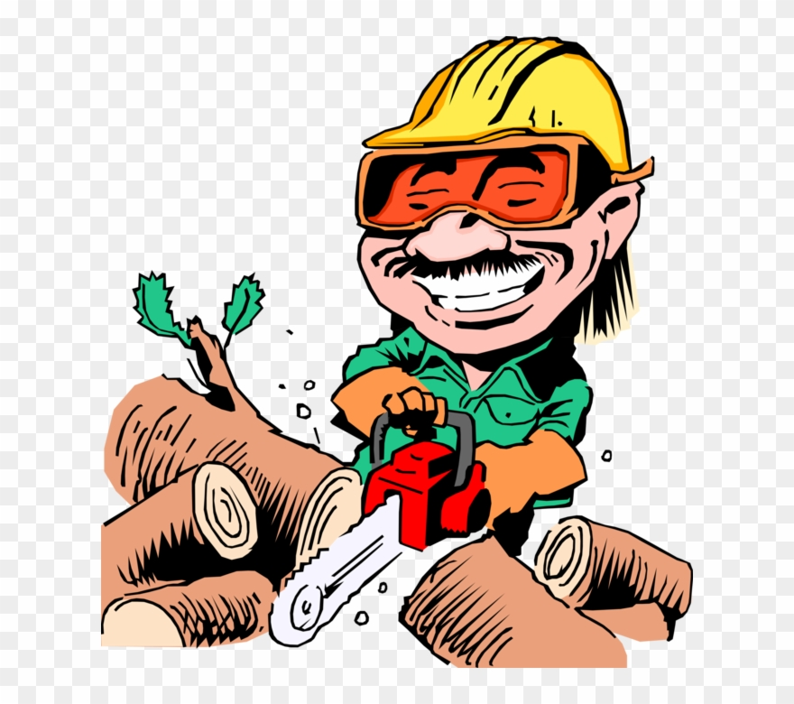 Vector Illustration Of Woodcutter With Chainsaw Cutting Clipart.
