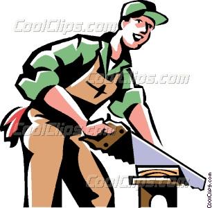 carpenter cutting wood Vector Clip art.