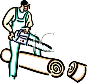 Man Cutting Wood with a Chainsaw Clipart Image.