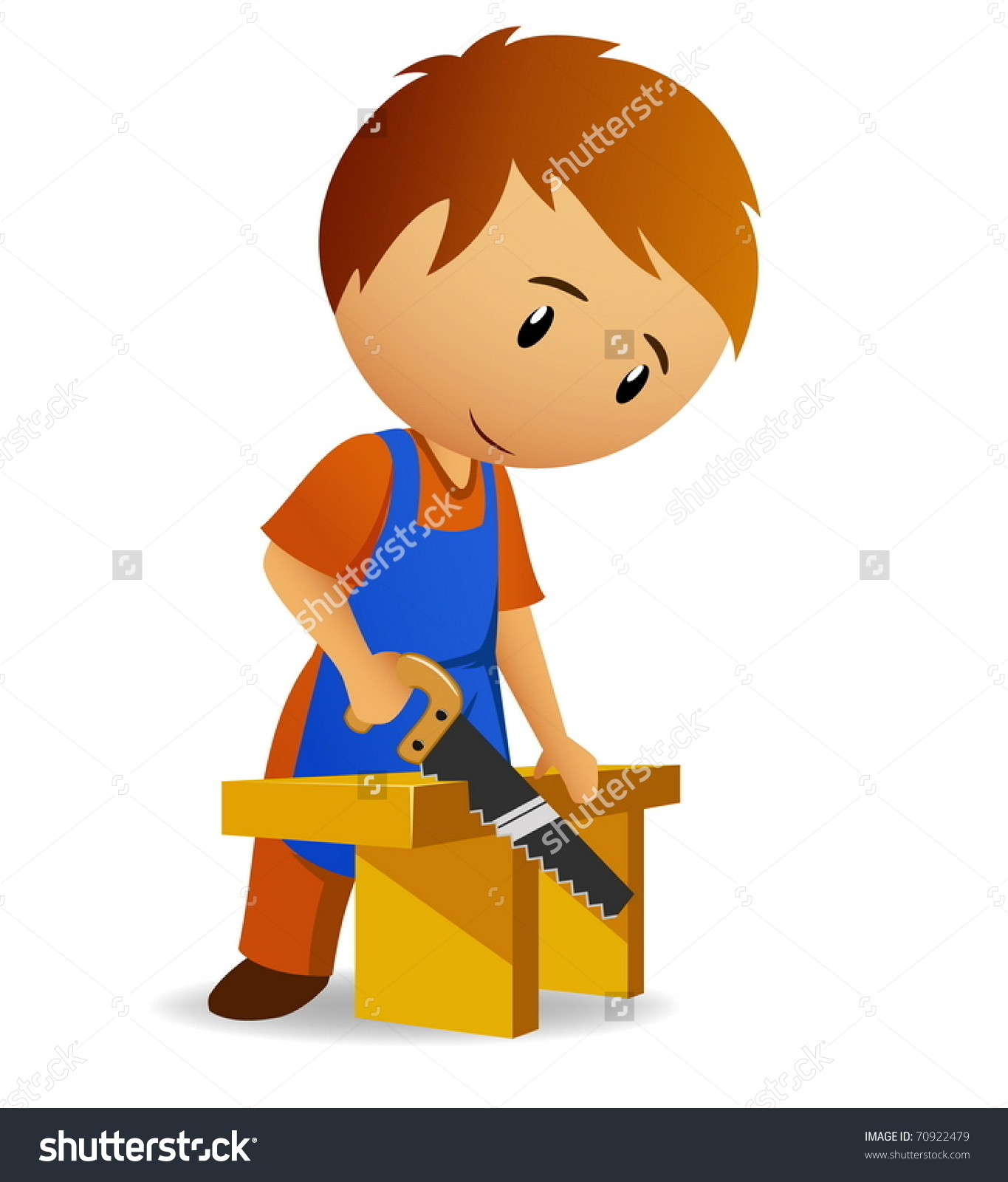 Vector Illustration Cartoon Carpenter Cutting Wooden Stock Vector.