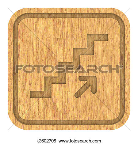 Stock Illustration of Wooden Stairs Up Sign k3602705.
