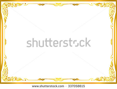 Gold Photo Frame Corner Thailand Line Stock Vector 499624909.
