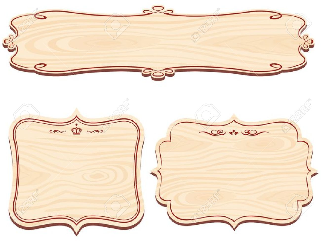 Set Of Decorative Wooden Sign Vector Royalty Free Cliparts.