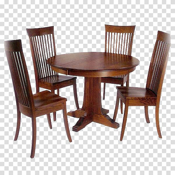 Round brown wooden table with four chairs dining set, Table.
