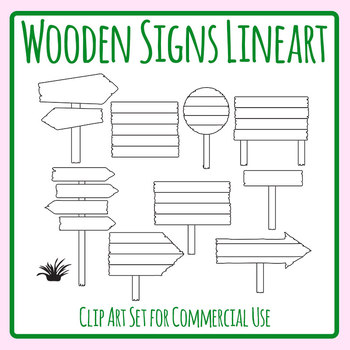 Wooden Signs Lineart.