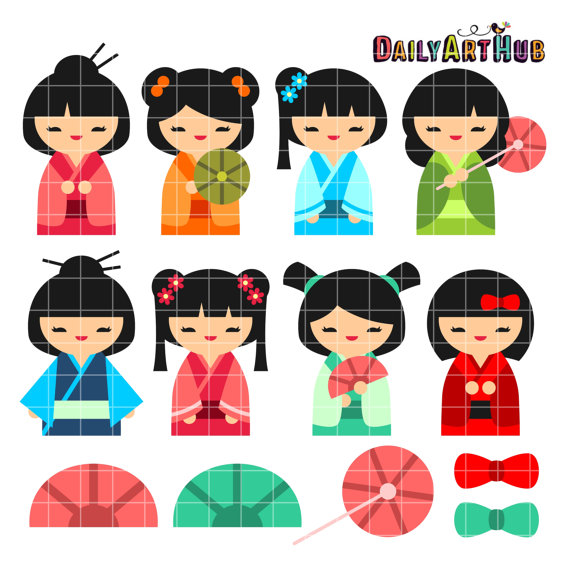 Kokeshi Doll Japanese Girl Birthday Invitation.